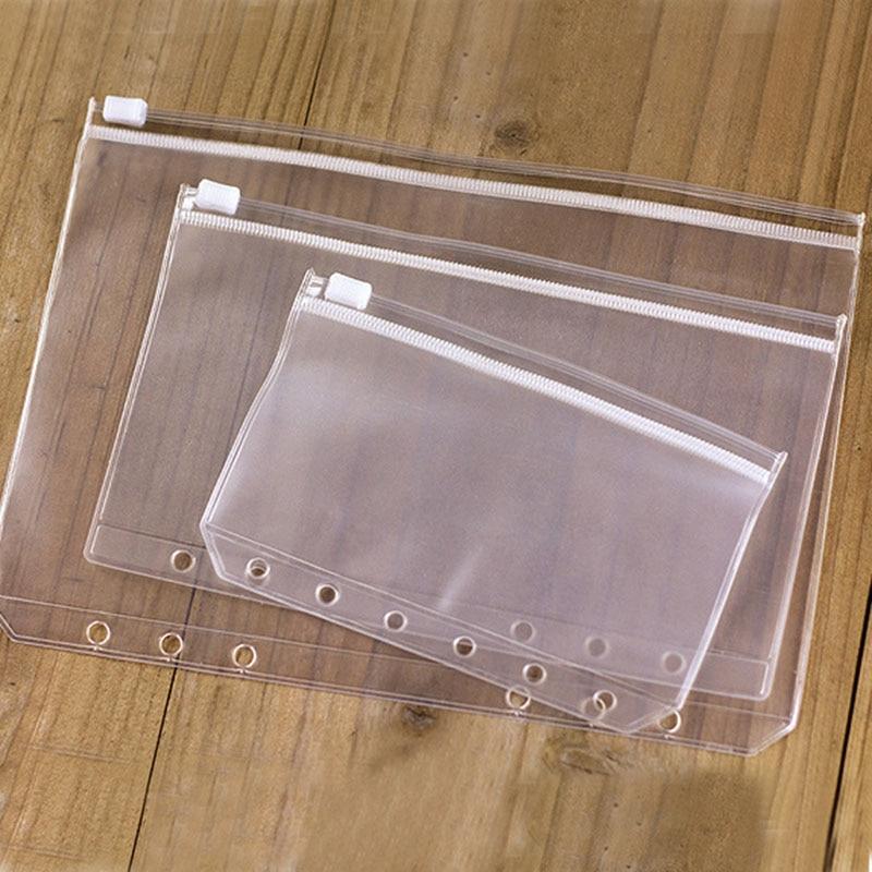5pcs/lot File Organizer Storage Folder Standard Transparent PVC Loose Leaf Pouch with Self-Styled Zipper Filing Binder Document