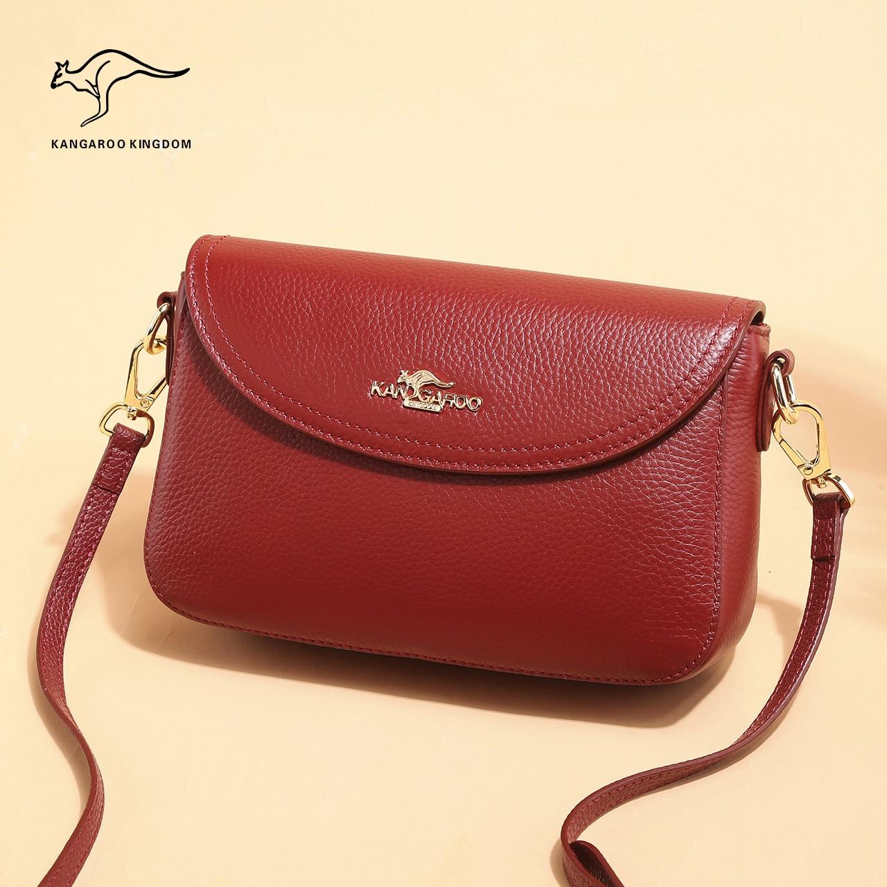حقيبة كنغر KINGDOM-جلد طبيعي للنساء ، حقيبة كتف صغيرة