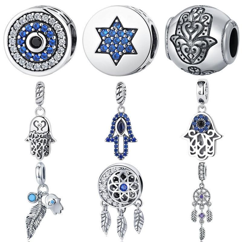 Perles en argent Sterling 925 authentiques yeux bleus Fatima Hamsa perles breloque à la main Bracelet à breloques PAN Original bijoux à bricoler soi-même