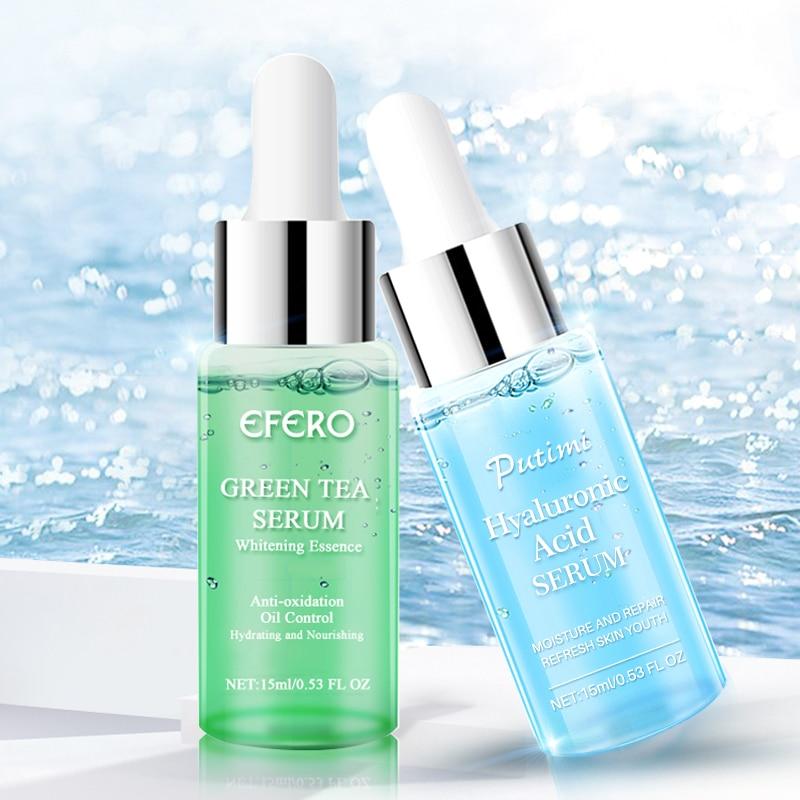 EFERO Hyaluronic Acid Serum Anti Aging Green Tea Essence Moisturizing Face Serum Acne Treatment Skin Care Whitening Face Cream