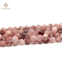 diamonds faceted black veined rhodonite natural stone round star cut polygon beads for jewelry making 15inches 6 8 mm