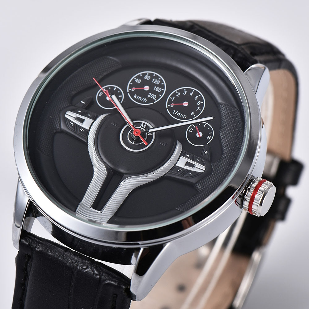 Creative Natrual style Classic precision Fashion Men's Quartz watch 3D Racing tire Free Stainless St