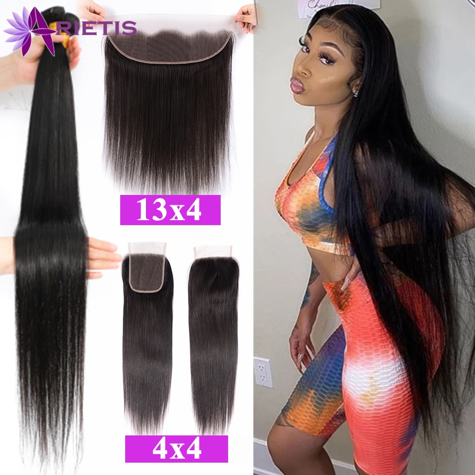 32 34 36 38 40 inch Straight Human Hair Bundles With Closure Brazilian Remy Human Hair Bundles With Frontal Pre-Plucked Hairline