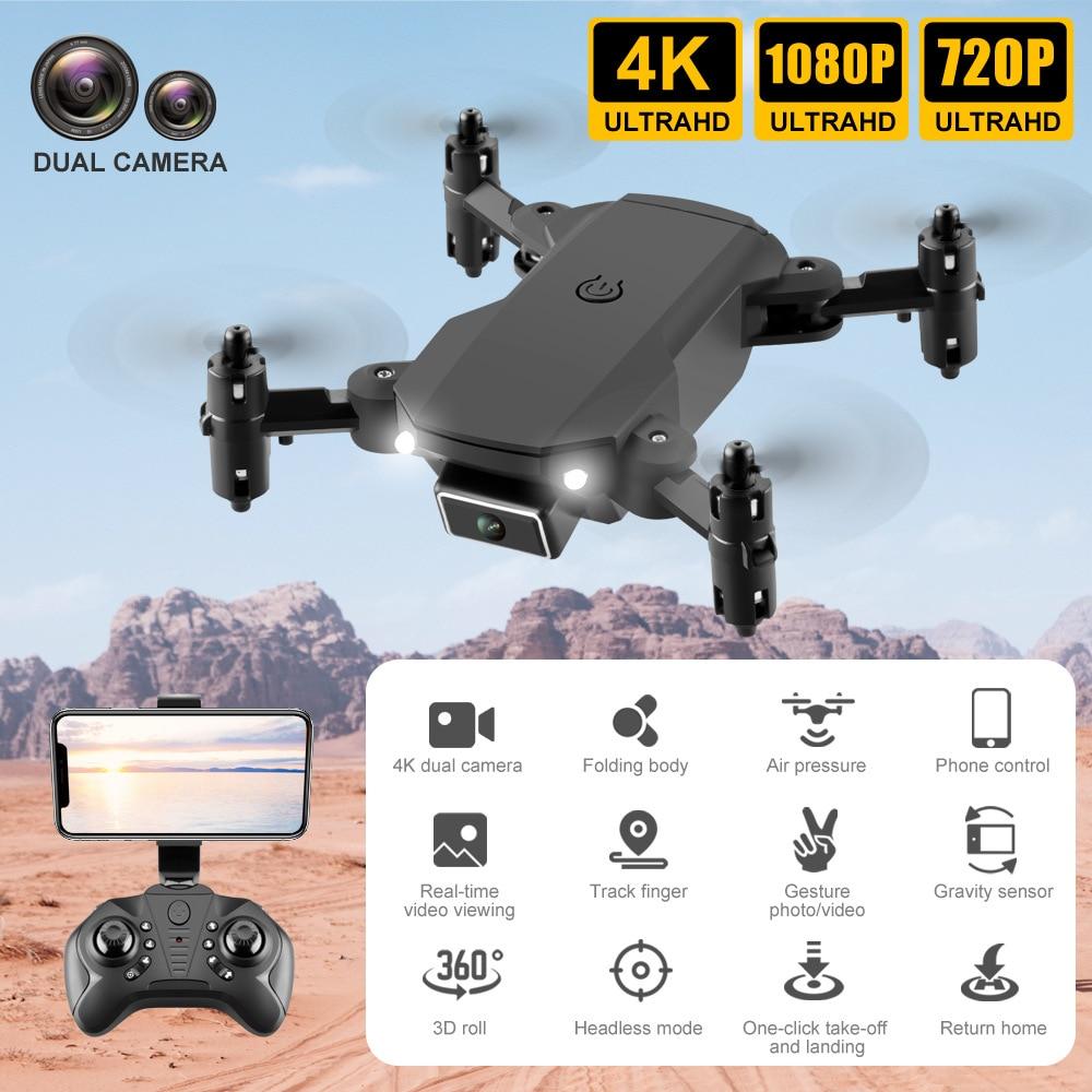 2021New KK2 Mini Drone Profesional 4K 1080P HD Double Camera WiFi Fpv Drones Altitude Hold Black Foldable Quadcopter RC Toys
