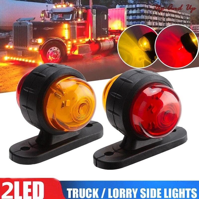 2x красный, янтарный, уголок боковой габаритный светодиодный светильник контур лампы грузовик с прицепом фургонов автобусов 12V