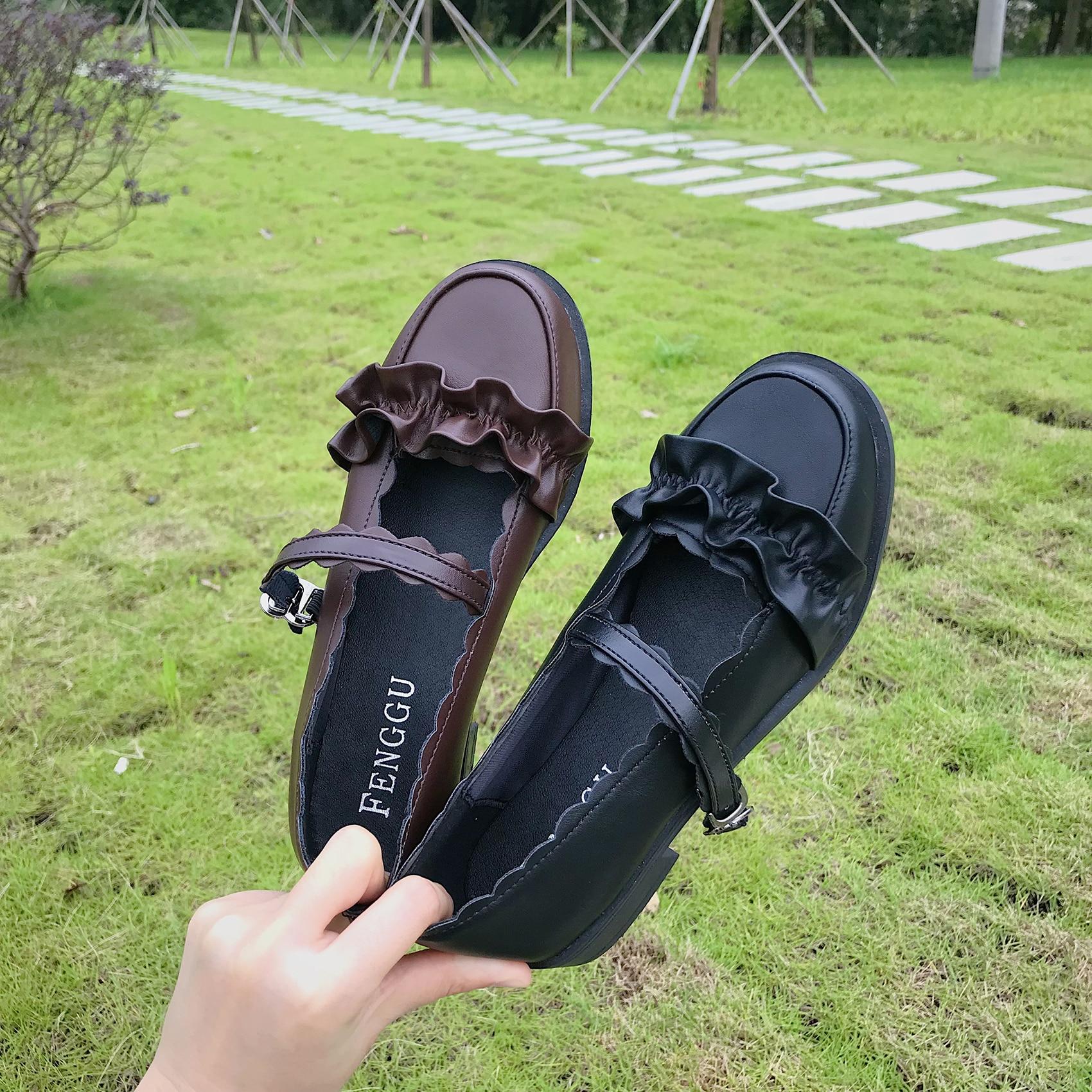 2020 새로운 일본 로리타 여성 구두 부드러운 여동생 귀여운 낮은 굽 유니폼 학생 작은 가죽 신발 둥근 머리 여성
