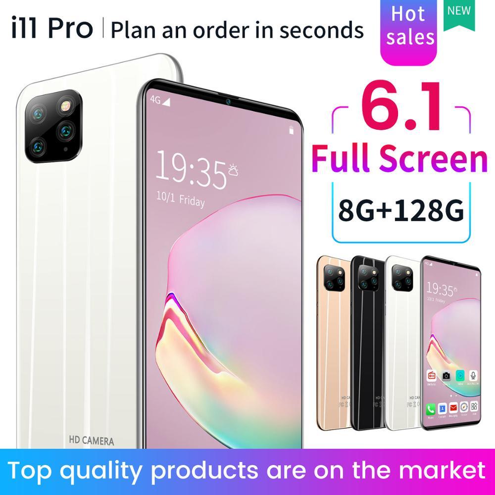 Versión Global Phon 11Pro 6,1 pulgadas gotas de agua pantalla smartphone reconocimiento facial 4800mAh Snapdragon 855 NFC teléfono Android 9,1