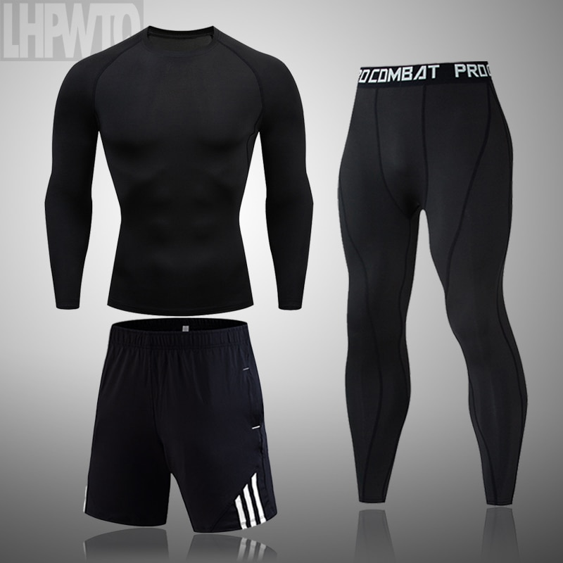 2020 Men's Thermal Underwear Suit MMA Rashguard Suit Fitness Sports Leggings Suit Solid color Men Co