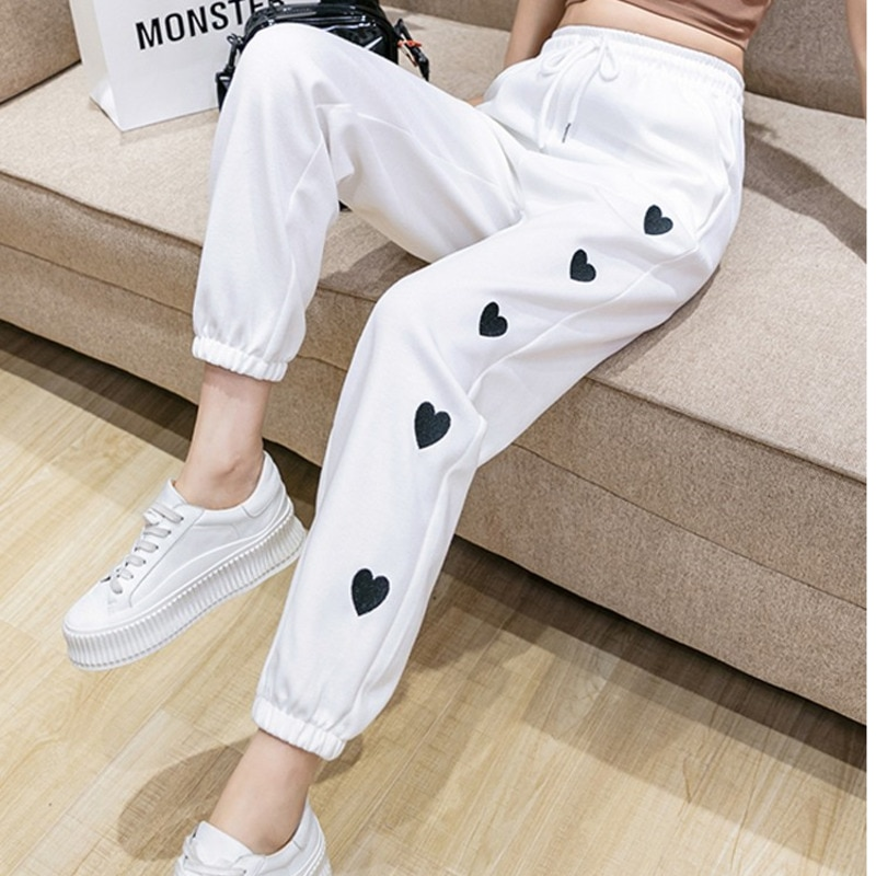 #2140 White Black Streetwear Pencil Harem Pants Thin Quick-Dry Track Pants Women Ankle-length Casual Ladies Trousers Summer 2021