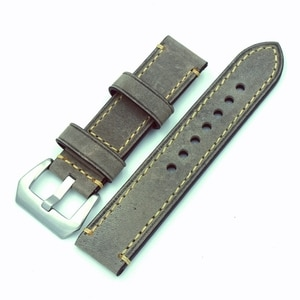 1PCS 20mm 22mm 24mm 26mm genuine leather Gray Crazy horse leather fashion Watch band watch strap Man Women watch straps