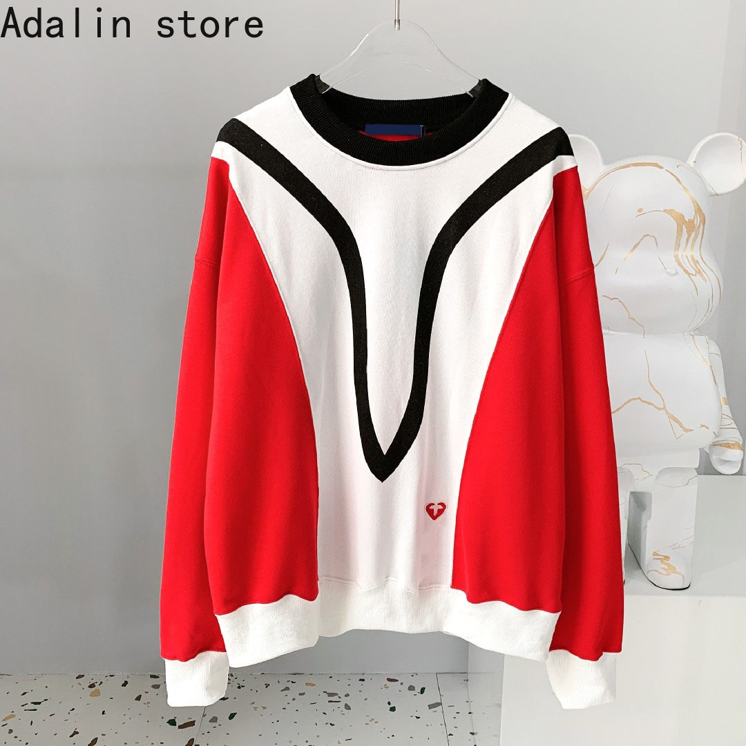 2021 high quality fashion women's embroidered round neck top contrast color stitching personalized long sleeve sweater enlarge