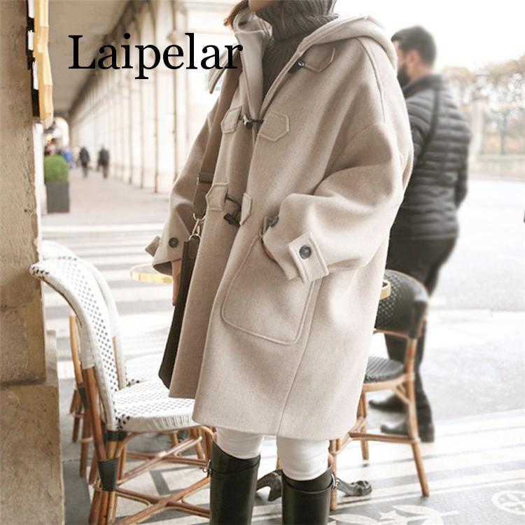 New 2019 Autumn Winter Women Jackets Hooded Warm Korean Style Preppy Elegant Casual Long Coat Outerwear Wool Blends