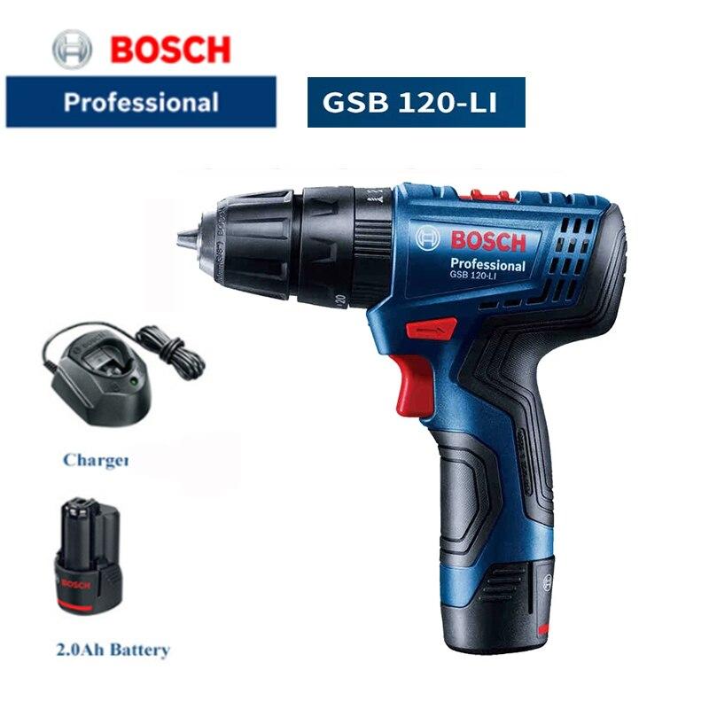 Bosch GSB120 LI 12V электрическая дрель литиевая Батарея ручная дрель мульти Функция ударный гайковерт/Драйвер Bosch Мощность инструмент Перезаряжаемые