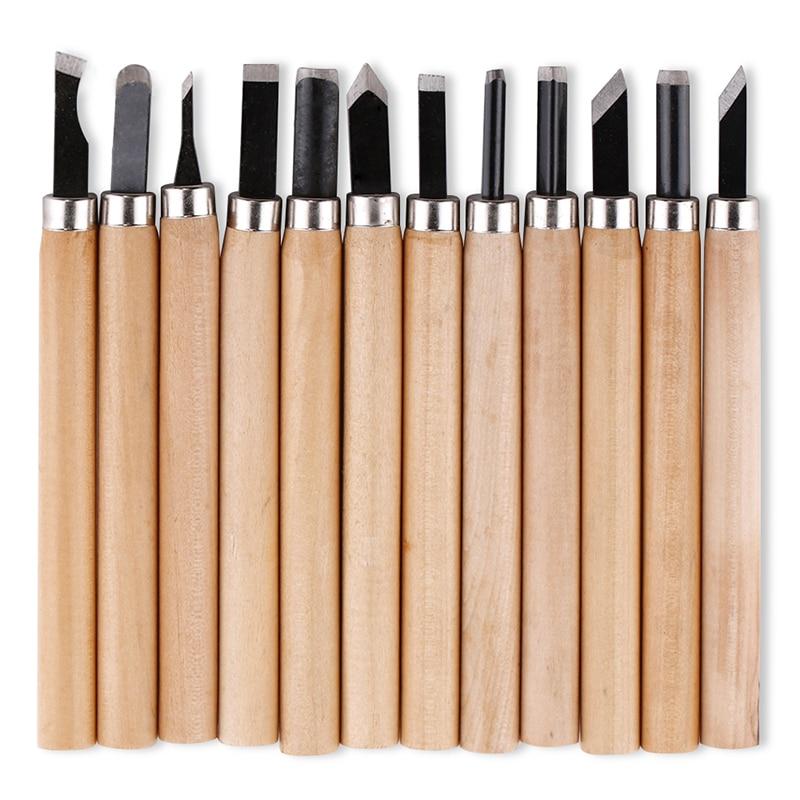 12 vnt. Profesionalių medžio drožimo kalto peilių rankinių įrankių rinkinys, skirtas pagrindiniams išsamiems drožybos medienos apdirbėjams