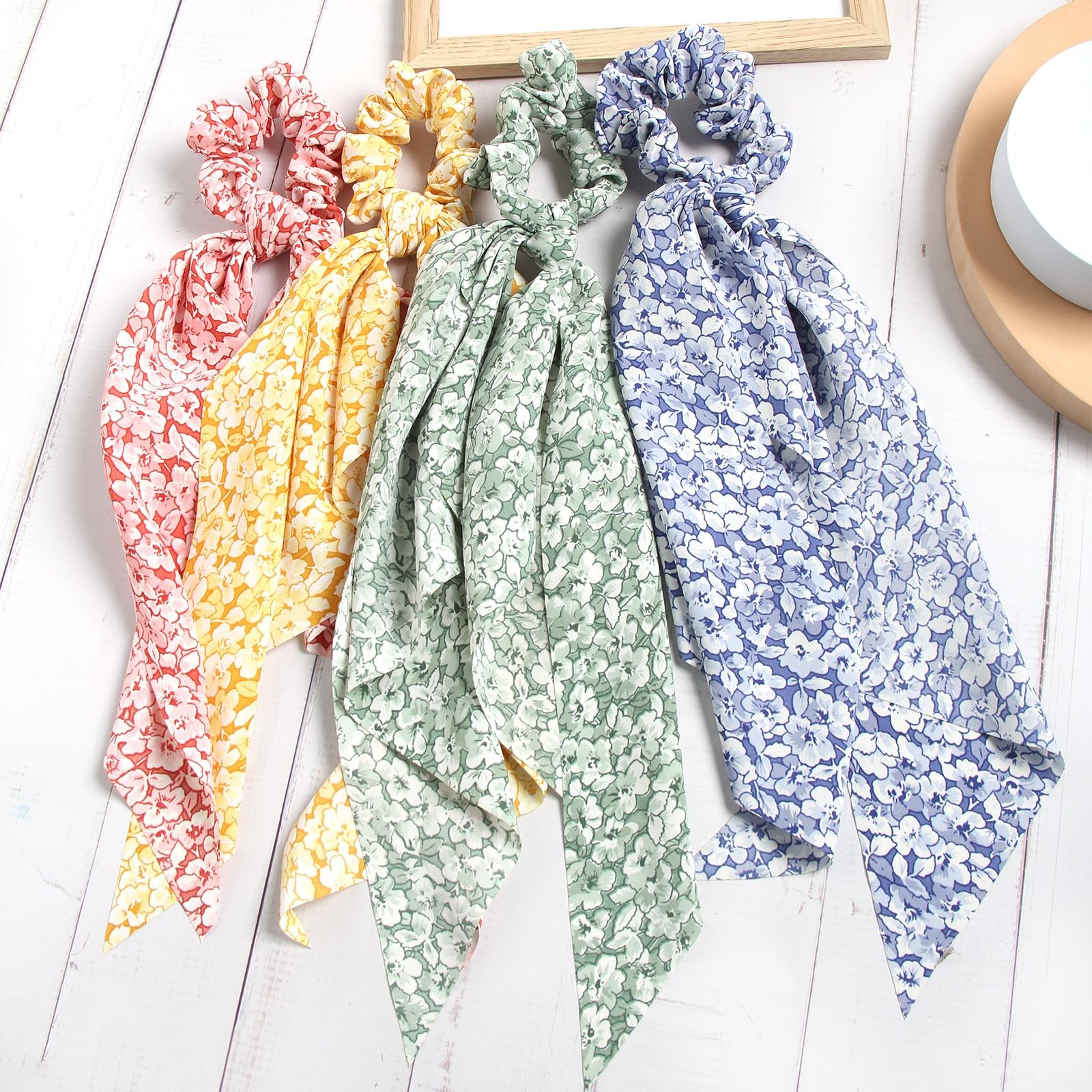 Fashion Floral Print Scrunchies Long Hair Ribbon For Women Girl Ponytail Scarf Hair Tie Sweet Elastic Hair Band Hair Accessories 2pcs sweet charming long tail ribbon floral headband tie women boho double loop alice band hairbands