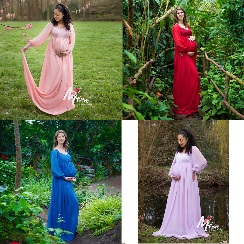 3pcs/lot Soft Chiffon Long Sleeves Maternity Dress Pregnancy Gown Baby Shower Dress for Maternity Photography Accessories enlarge