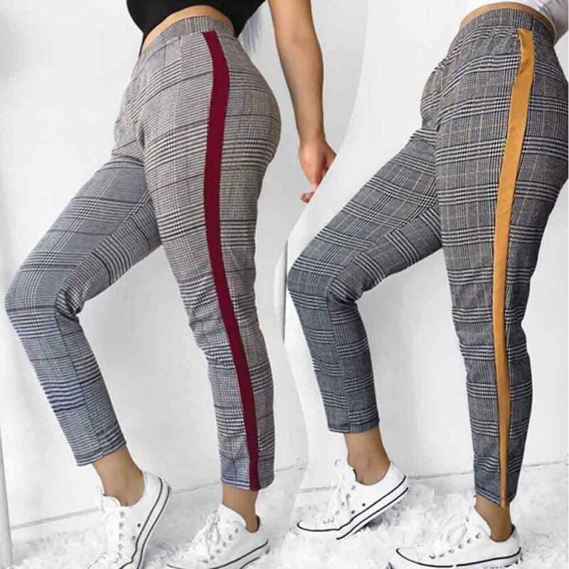 Womens Stretch Skinny Plaid Slim Jeggings High Waist Pencil Pants Trousers