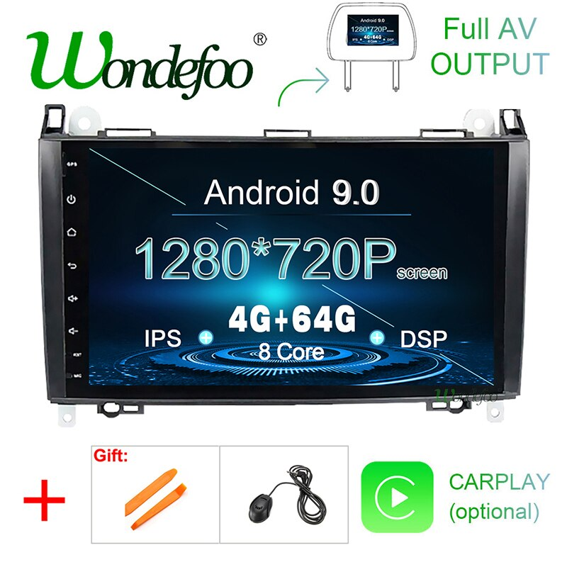 Android 9,0 DSP 4G Radio GPS de coche para Mercedes Benz Sprinter B200 Clase B W245 B170 W209 W169 multimedia, pantalla IPS no reproductor de DVD