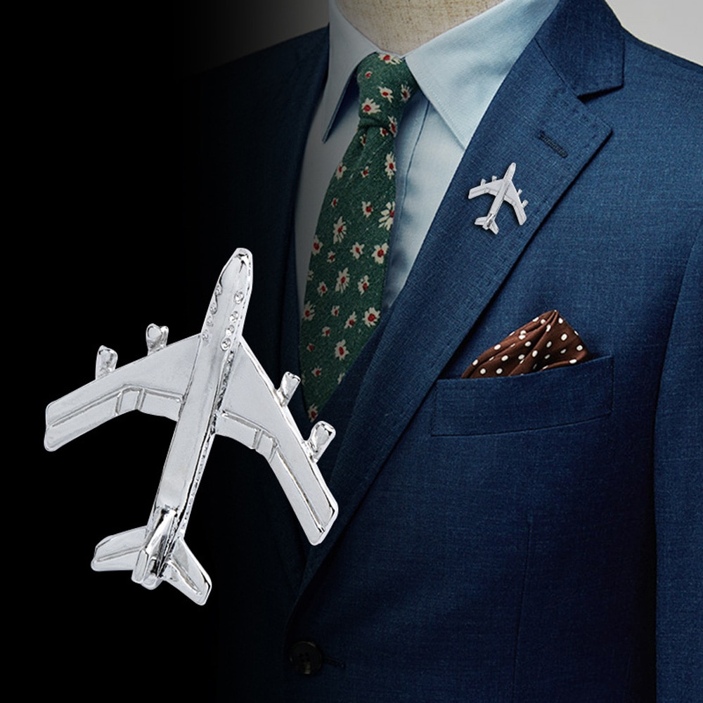 Vintage Airplane Brooch Men Suit Lapel Pin Mini Cute Alloy Badge Sweater Jacket Decor Collar Pin Fashion Jewelry