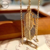 aazuo fashion hot sale instagram stype 18k orignal yellow gold double feather chain necklace gifted for women au750