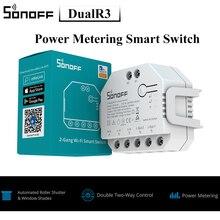 Мини переключатель SONOFF DUALR3 с Wi Fi, дистанционное двухстороннее Измерение мощности, двойной релейный модуль, таймер eWeLink, умный дом, голосовое управление Siri