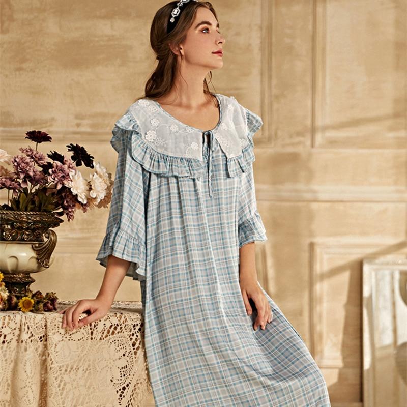 ثوب نوم نسائي ، ملابس نوم ، ملابس نوم ، نمط أوروبي قديم من العصور الوسطى ، لفصل الصيف
