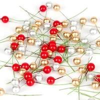 50100pcs mini berries plastic berry artificial flower red cherry pearlescent stamen wedding diy christmas wreaths decor gift