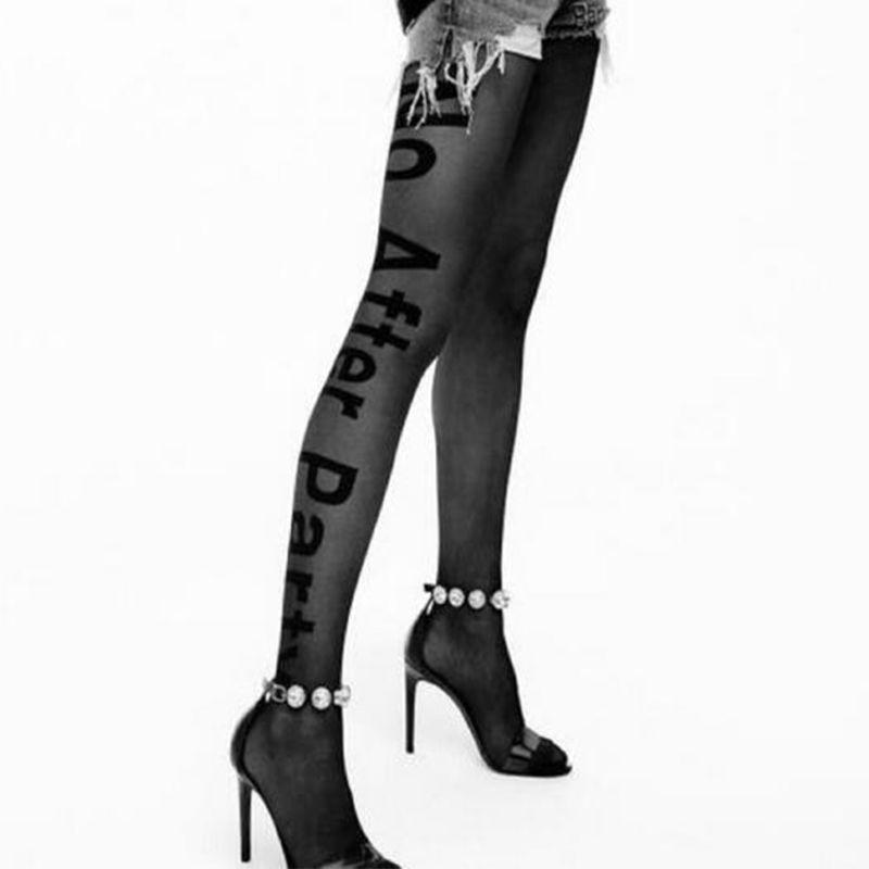 Mujeres Punk Sexy tatuaje con letras medias Fun No después de fiesta transparente negro pantimedias