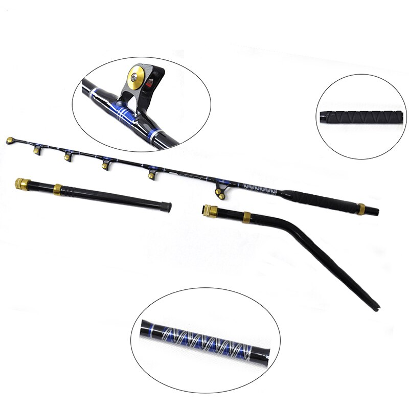 """ORJD Boat Fishing Rod BlueSpear 80lbs 5'6"""" Sea Trolling Rod Fiberglass Material Big Game Trolling Rods with Curved Handle enlarge"""