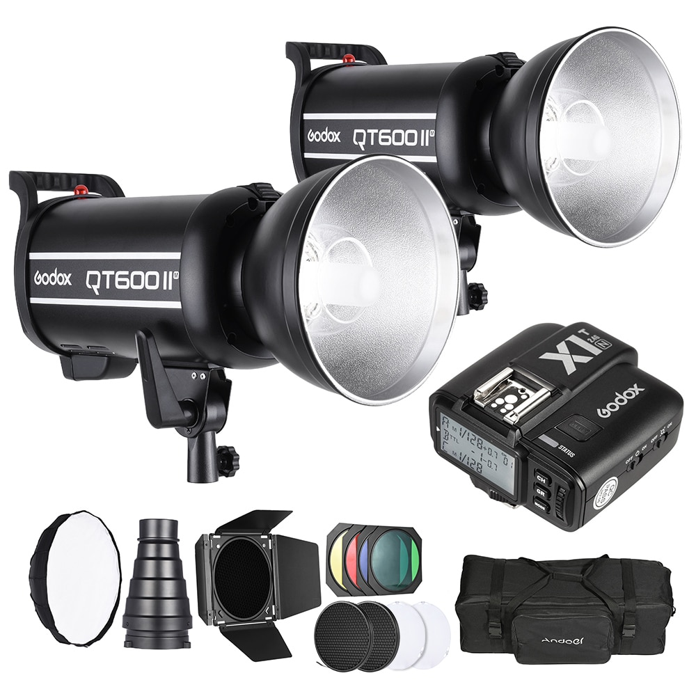 Godox Studio Light Photography Kit Set with 2 * Godox 600W Strobe Flash Wireless Trigger Transmitter Softbox for Nikon Cameras