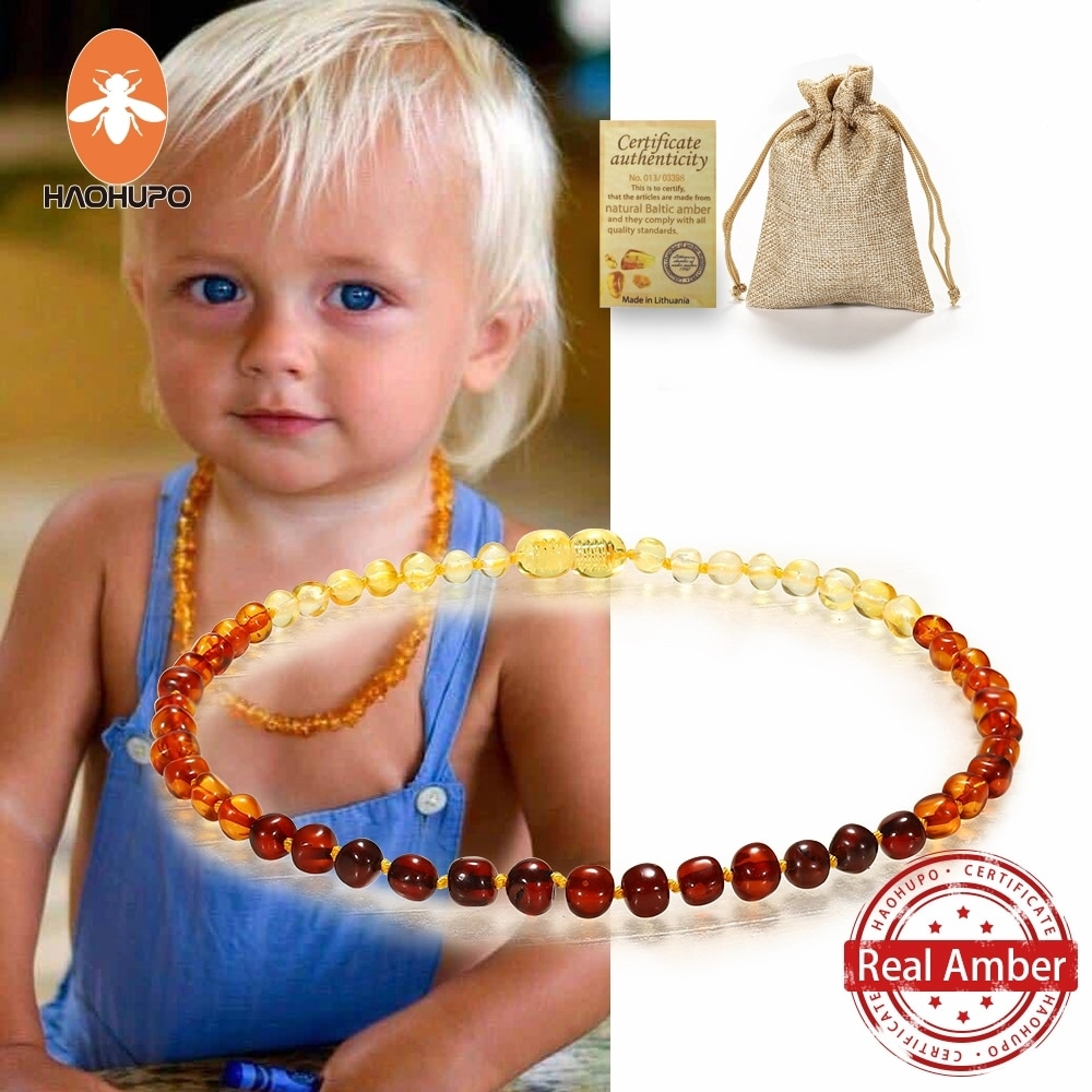 HAOHUPO Classic Natural Amber Necklace Certificate Authenticity Genuine Baltic Amber Stone Childre Necklace baby Gift 14 Color yoowei 5mm amber women necklace for christmas new year gift round gold baltic amber jewelry s925 silver beads boutique wholesale