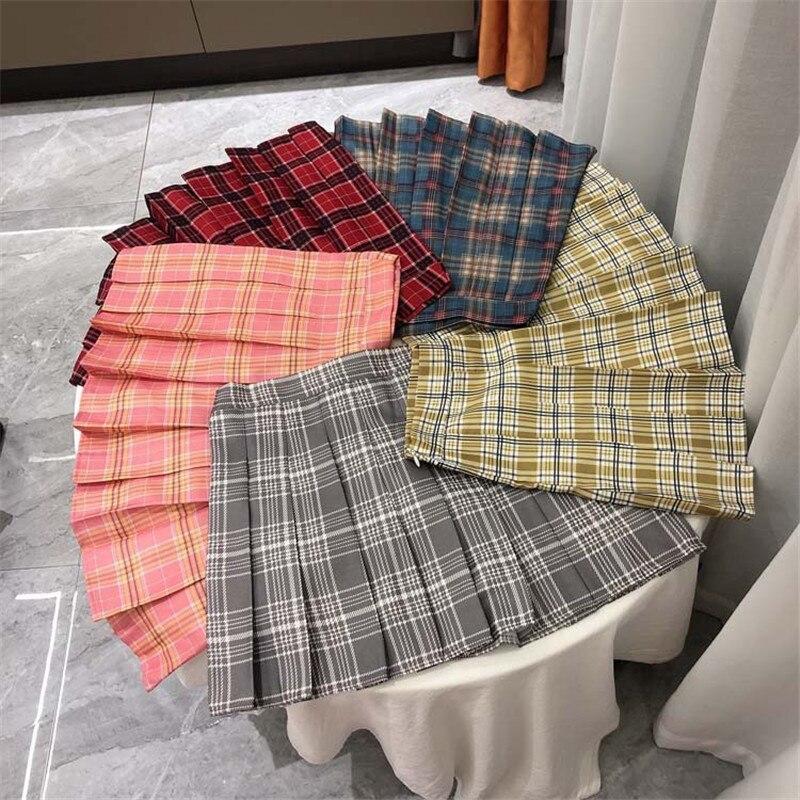 Plaid Summer Women Skirt 2020 High Waist Stitching Student JK Pleated Skirts Women Cute Sweet Girls Dance Mini Skirt