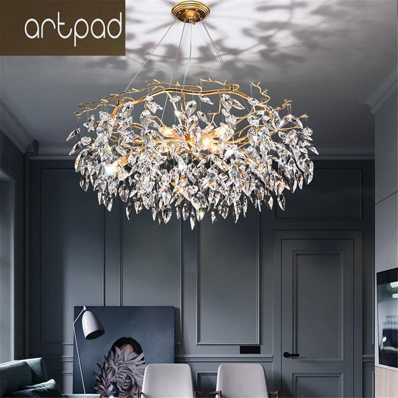 Modern Luxury Gold Crystal Chandelier Lighting Large Led Chandeliers Fixtures for Living Room Hotel Hall Art Decor Hanging Lamp