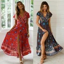 Hirigin femmes Boho robe florale 2019 été Chic Style ethnique col en v fendu Sexy robe taille haute femmes Maxi robe robes longues