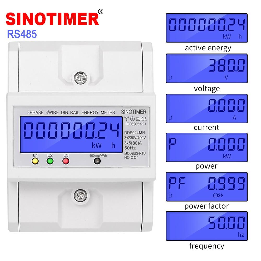 متعددة الوظائف RS485 Modbus 3 المرحلة 4 سلك الإلكترونية Wattmeter استهلاك الطاقة مقياس الطاقة 5-80A 380 فولت التيار المتناوب 50Hz الخلفية