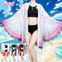 Demon Slayer-Bikini Kochou Shinobu, traje de baño Kimono, cárdigan, ropa de baño de Anime para verano