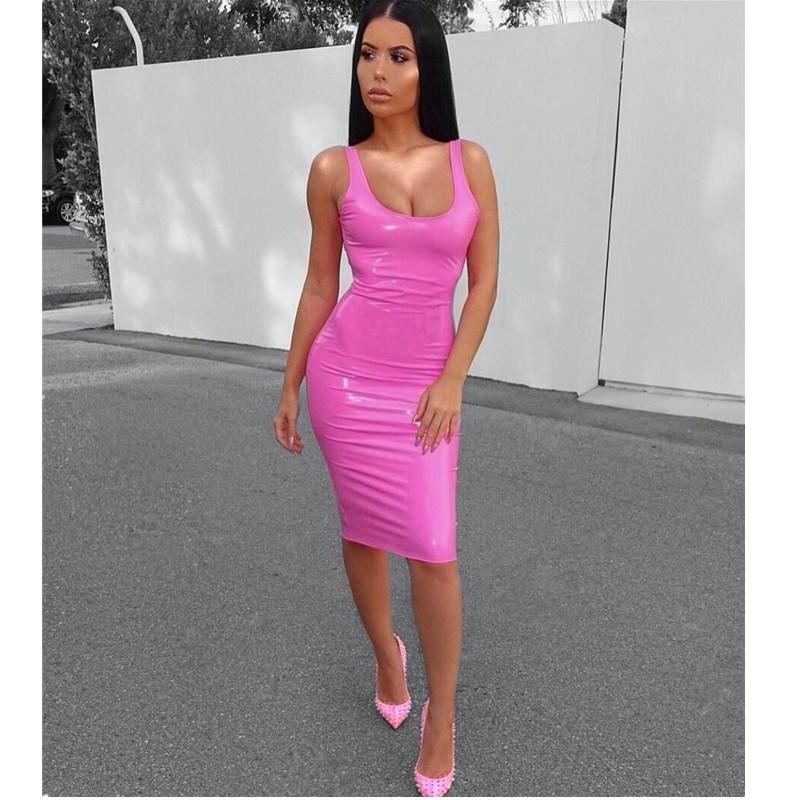 Sexy Spaghetti Strap PU Dress Side Zip Bodycon Dress Pink Leather Dress Party Club Summer Clothes Midi Vestidos Robe Femme Ddlg