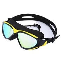 swimming goggles conjoined earplug for men and women high definition anti fog waterproof diving