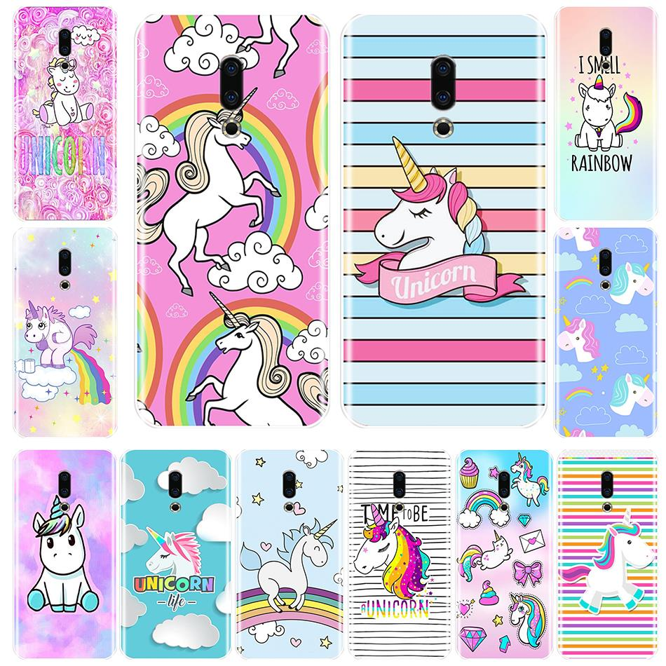 Funda de teléfono para Meizu 15 Lite 16 Plus 16x silicona suave TPU cubierta trasera lindo unicornio Arco Iris para Meizu U10 U20 Pro 6 7 Plus