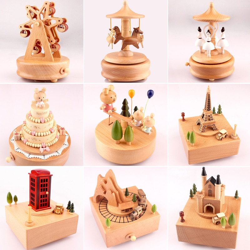 Caja de música de madera caja de música hogar creativo de madera maciza carrusel artesanías Día de San Valentín regalo ornamentos caja de regalo carrusel de madera