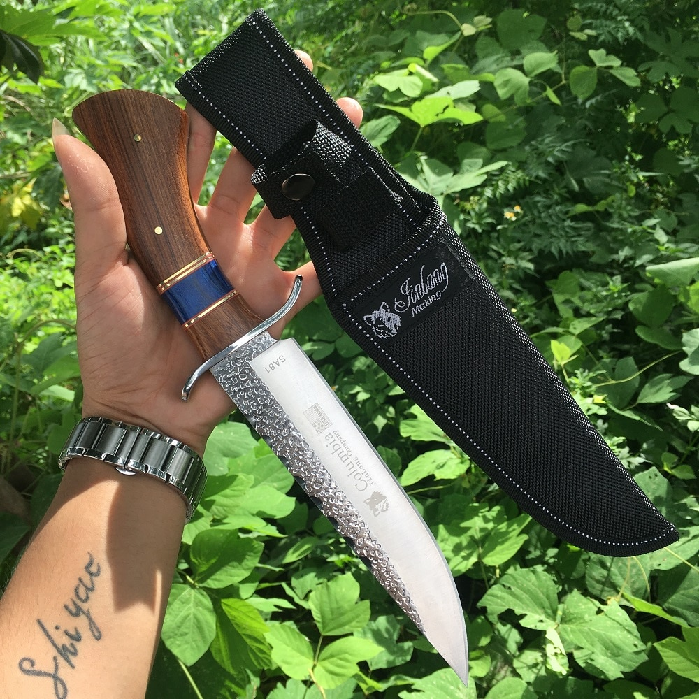 Hot Combat Knife Fixed Blade 3Cr13Mov Steel 57HRC High Hardness Hunting Straight Knives Tool Quality Wooden Handle