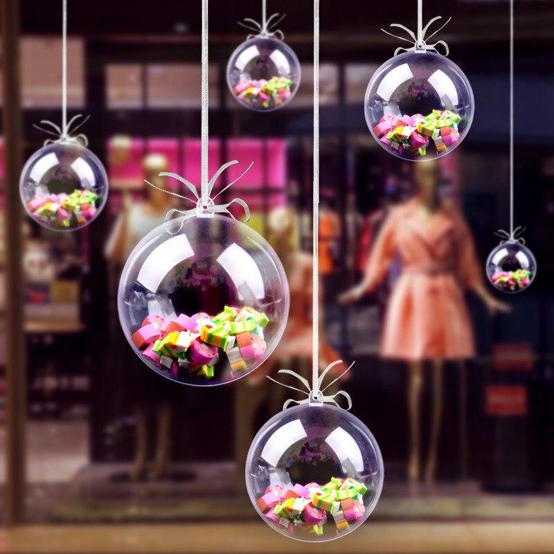 10 piezas de plástico transparente bola rellena adornos de bolas de Navidad DIY boda fiesta vacaciones hogar decoraciones