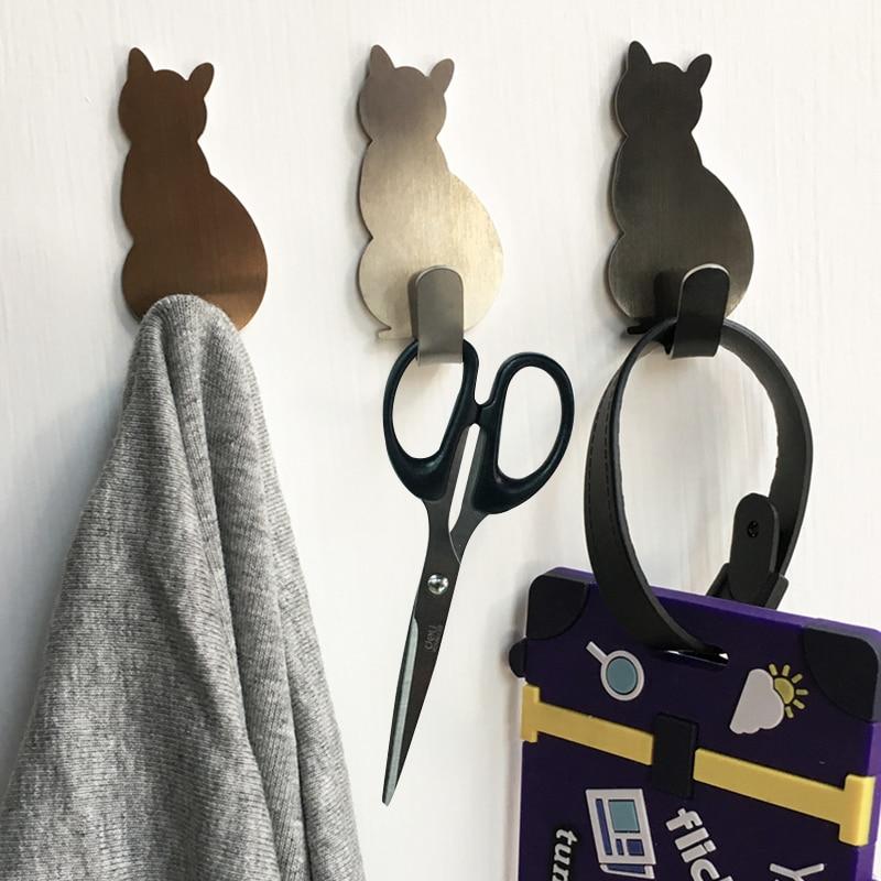2 τεμάχια γάτα μοτίβο αυτοκόλλητων γάντζων αποθήκευσης για μπάνιο και κουζίνα, κρεμάστρα σε τοίχο, κρεμαστά ρούχα και ράφια πετσετών
