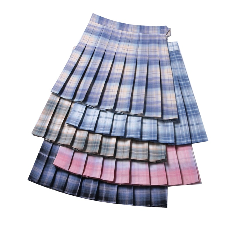 Summer Women Pleated Skirts 2021 High Waist Female Plaid Skirt Slim Waist Casual Ladies Mini Skirts Cute Sweet Girls Dance Skirt