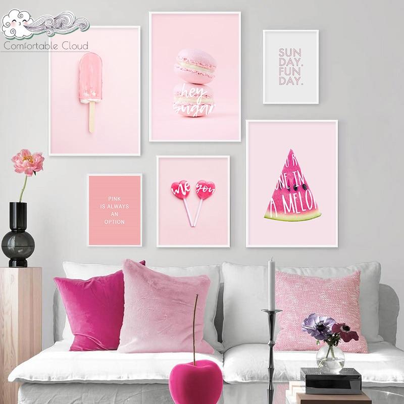 Cartel de pared de fruta de postre rosa de verano, arte de ensueño dulce, lienzo impreso, pintura, decoración del cuarto de niños, decoración del dormitorio de las niñas