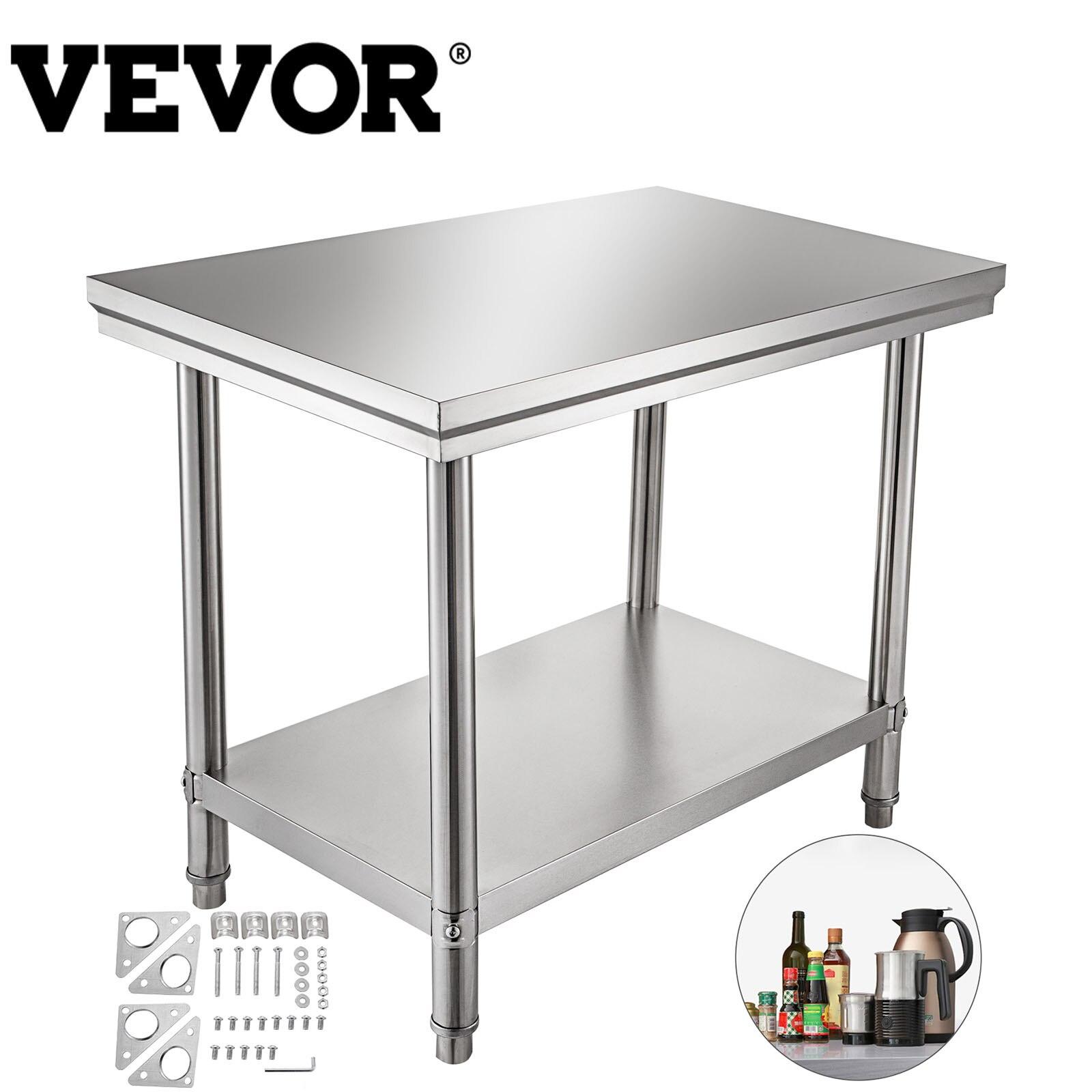 VEVOR مطبخ الإعدادية طاولة العمل المهنية الفولاذ المقاوم للصدأ الأحمال حتى 500LBS (أعلى) 220LBS (تحت) ث/قدم قابل للتعديل المنزل التجاري