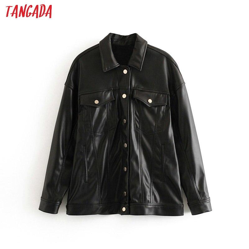 Tangada Women black faux leather jacket coat pocket Ladies Long Sleeve oversize boy friend pu Coat 3H268