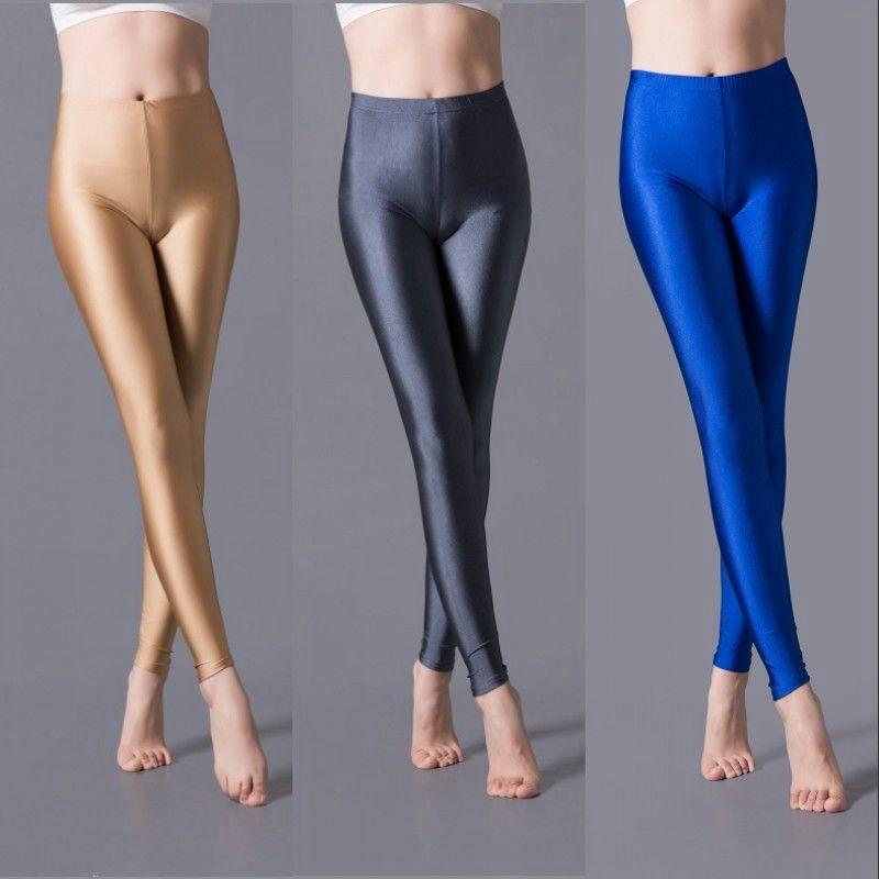 Leggings ceñidos de color caramelo para mujer, cómodos leggings brillantes, ajustados para Fitness, color liso, negro, gris y rojo, pantalones pitillo