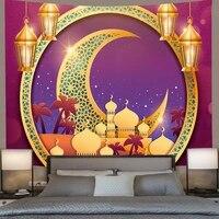 simsant ramadan kareem tapestry golden muslim moon lantern wall hanging tapestries for living room bedroom home dormdecor