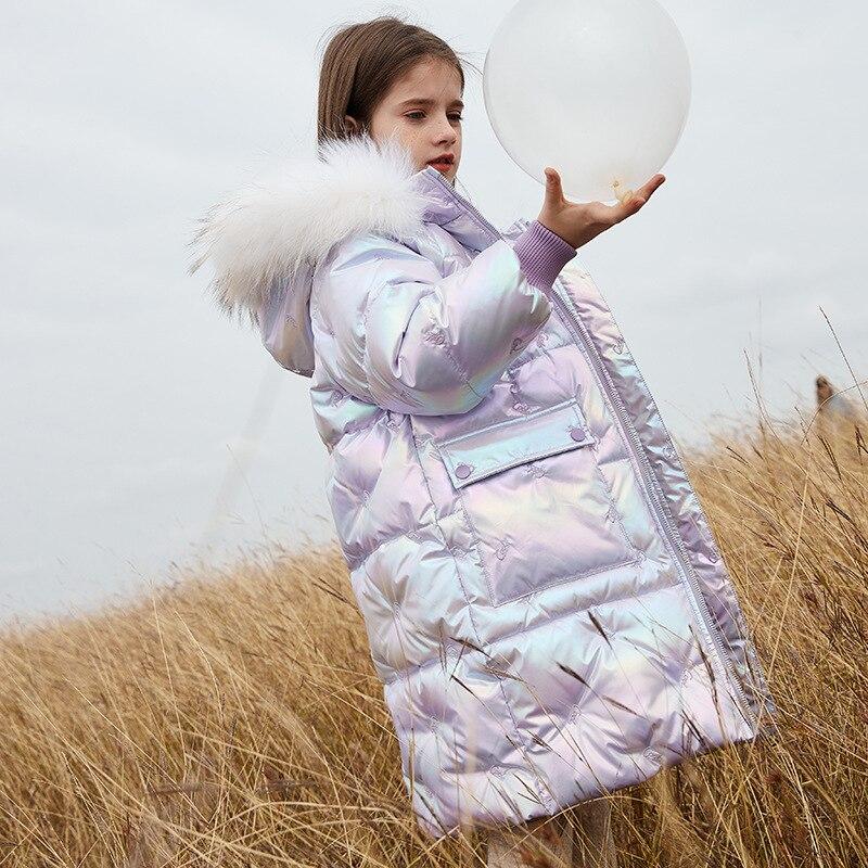 الأطفال أسفل سترة 90% الأبيض بطة أسفل الفتيات ملابس طويلة سميكة الاطفال معطف في الهواء الطلق معطف مقنع الفتيات سترة ملابس خارجية TZ820